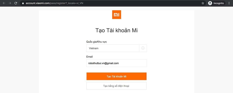 Hướng dẫn tạo tài khoản Mi ID để sử dụng robot hút bụi Xiaomi Roborock