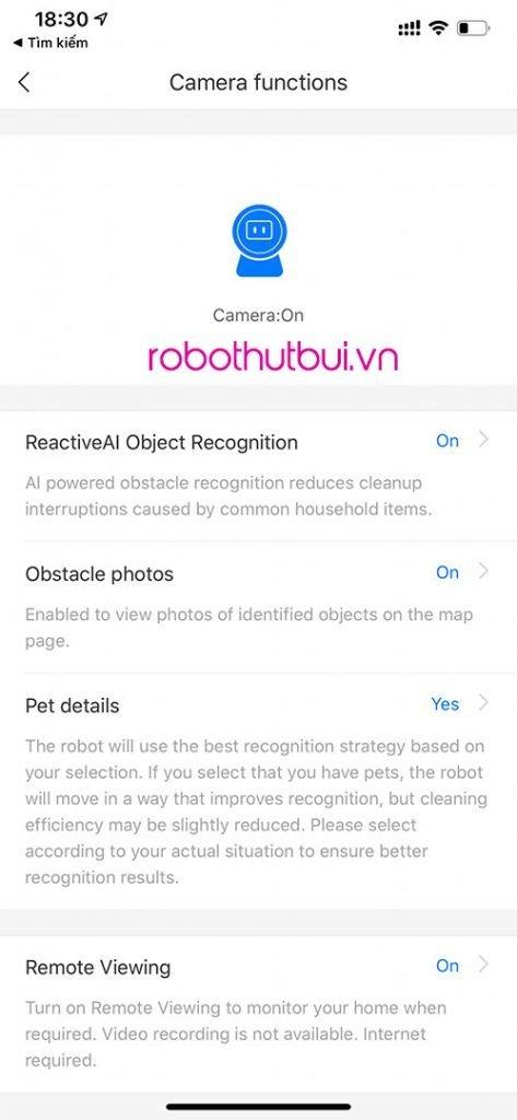 Bật tắt các tính năng nhận diện trên Roborock S6 MaxV